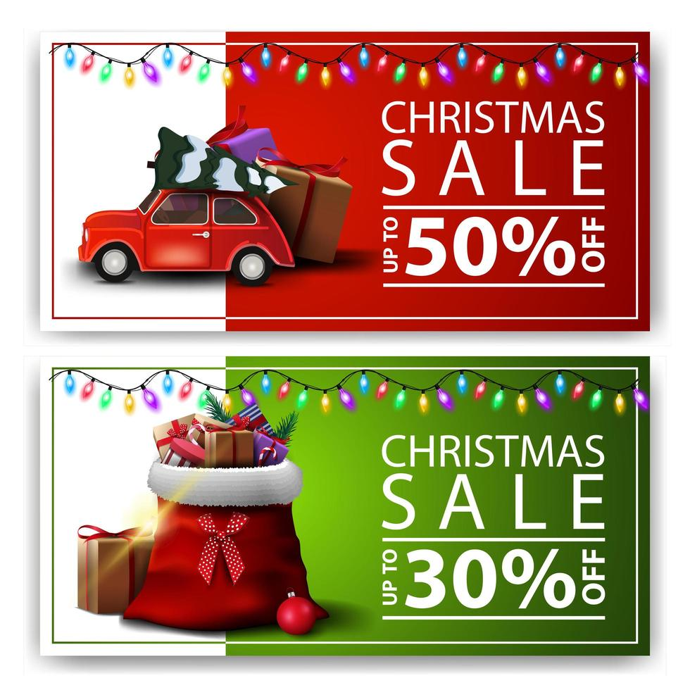 vente de noël, deux bannières discount avec sac de père noël et voiture vintage rouge portant arbre de noël vecteur