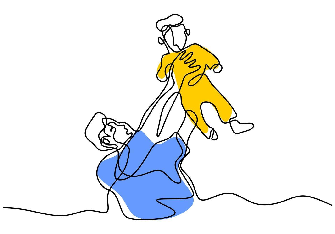 Un papa continu sur une seule ligne et une ligne jette un enfant à la main. rire avec bébé. heureux de jouer avec son bébé. aime son bébé. illustration vectorielle vecteur