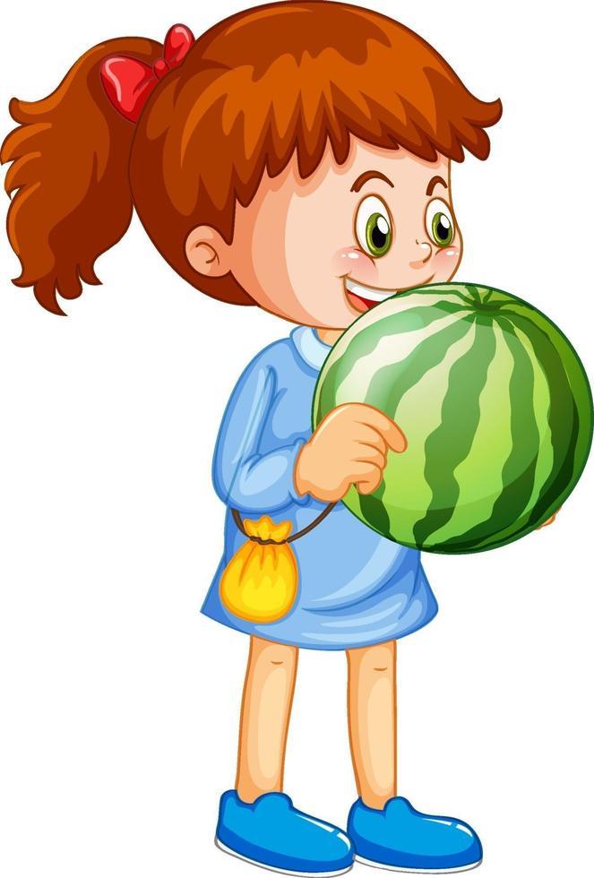 Une fille tenant le personnage de dessin animé de fruits pastèque isolé sur fond blanc vecteur