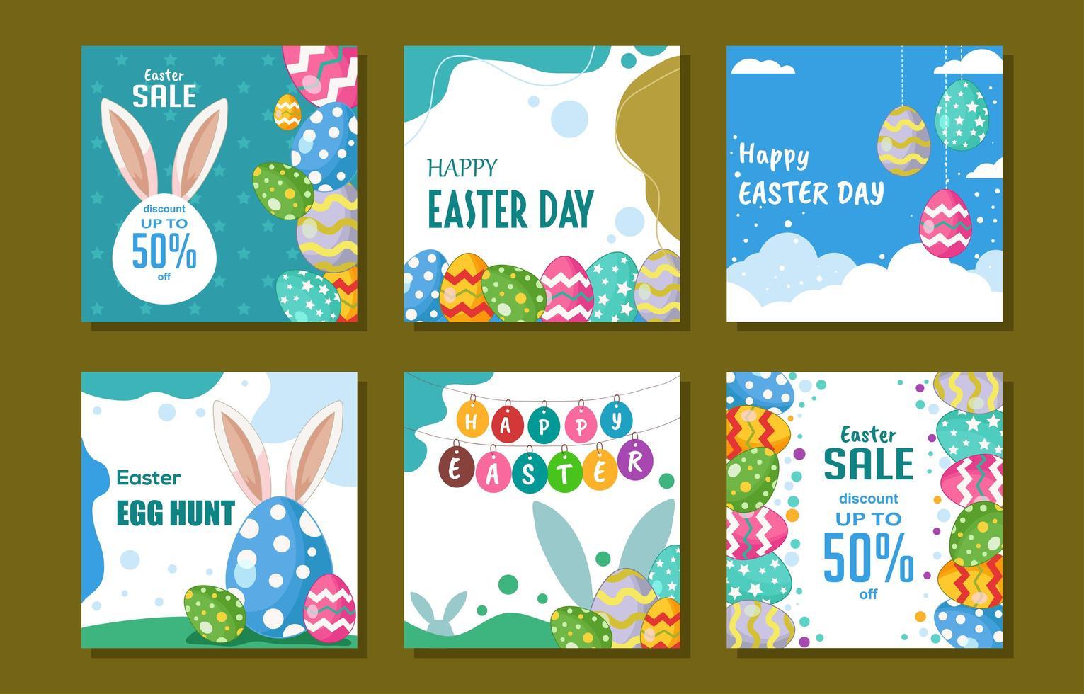 collection de publications sur les médias sociaux de lapin de pâques vecteur