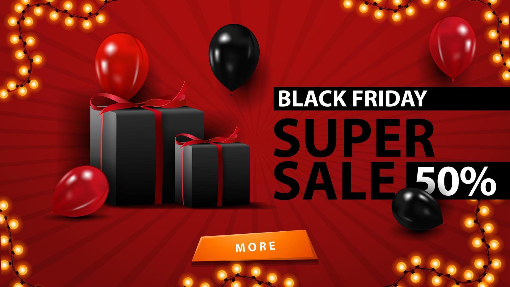 Super vente vendredi noir, jusqu'à 50 de réduction, modèle rouge créatif dans un style moderne minimaliste avec des ballons et des cadeaux. vecteur