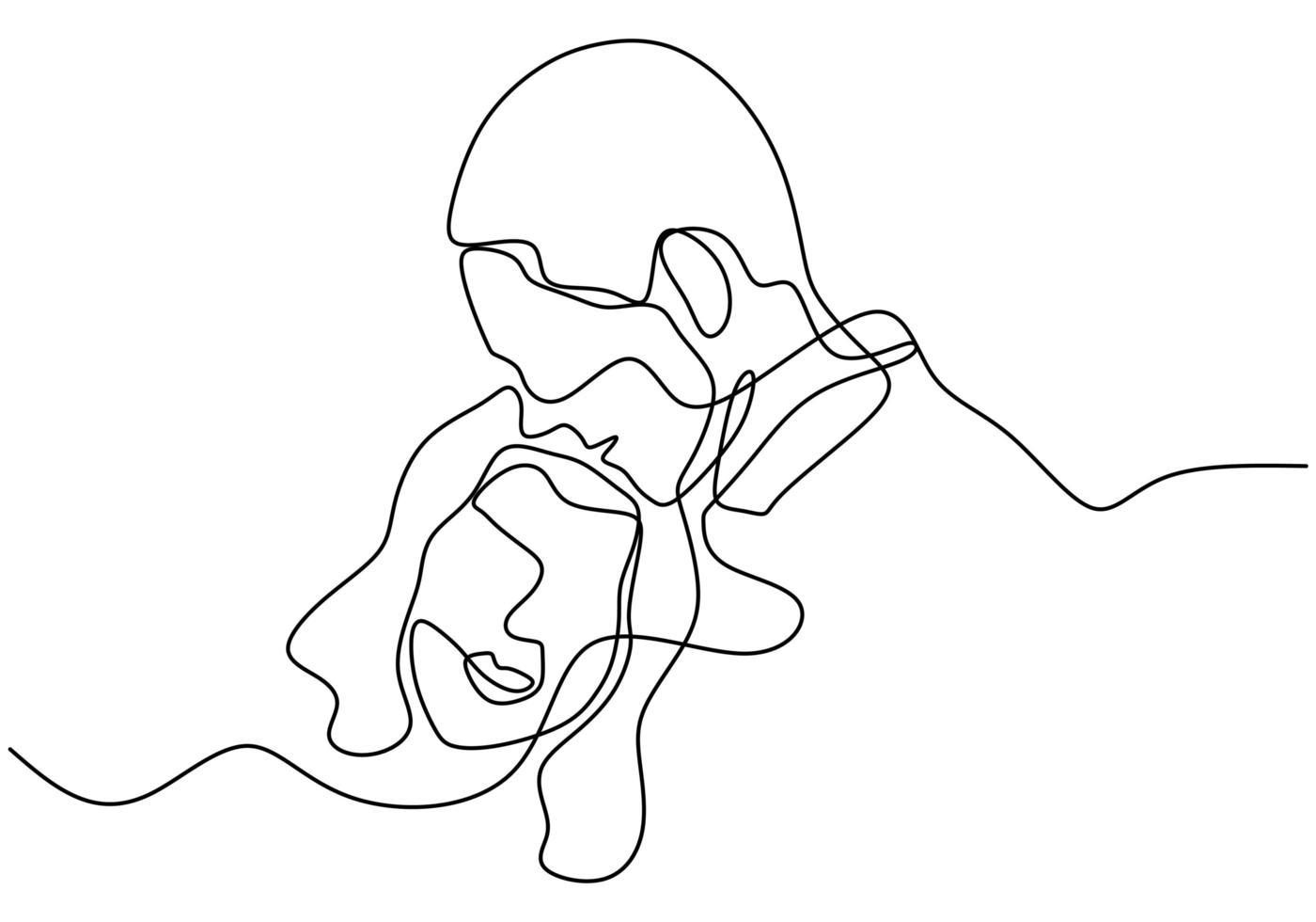 un dessin au trait de couple amoureux. portrait d'homme et de femme en relation. vecteur