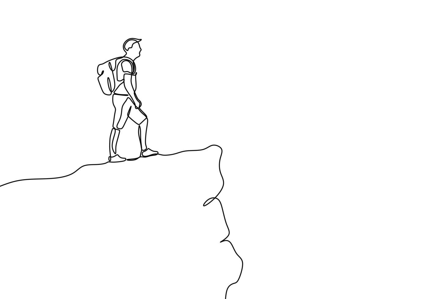 un dessin au trait d'une personne regardant le sommet du pic de la montagne rocheuse. illustration vectorielle de victoire symbole. vecteur