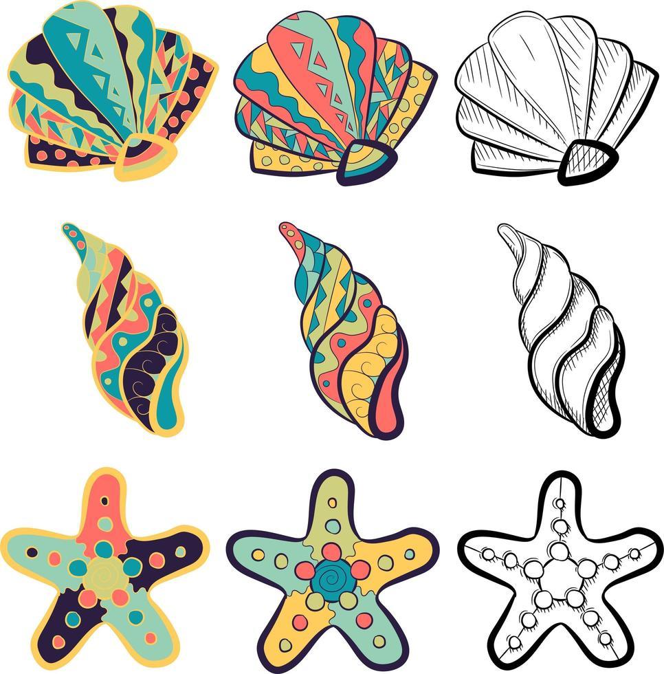petit paquet avec des éléments marins - palourdes, coquillages, huîtres et étoiles de mer. vecteur