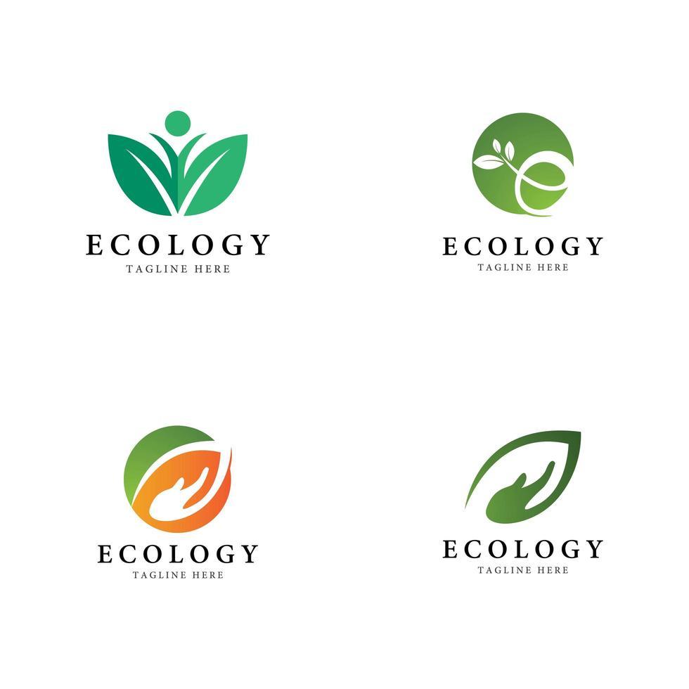 jeu d'icônes logo feuille arbre vecteur