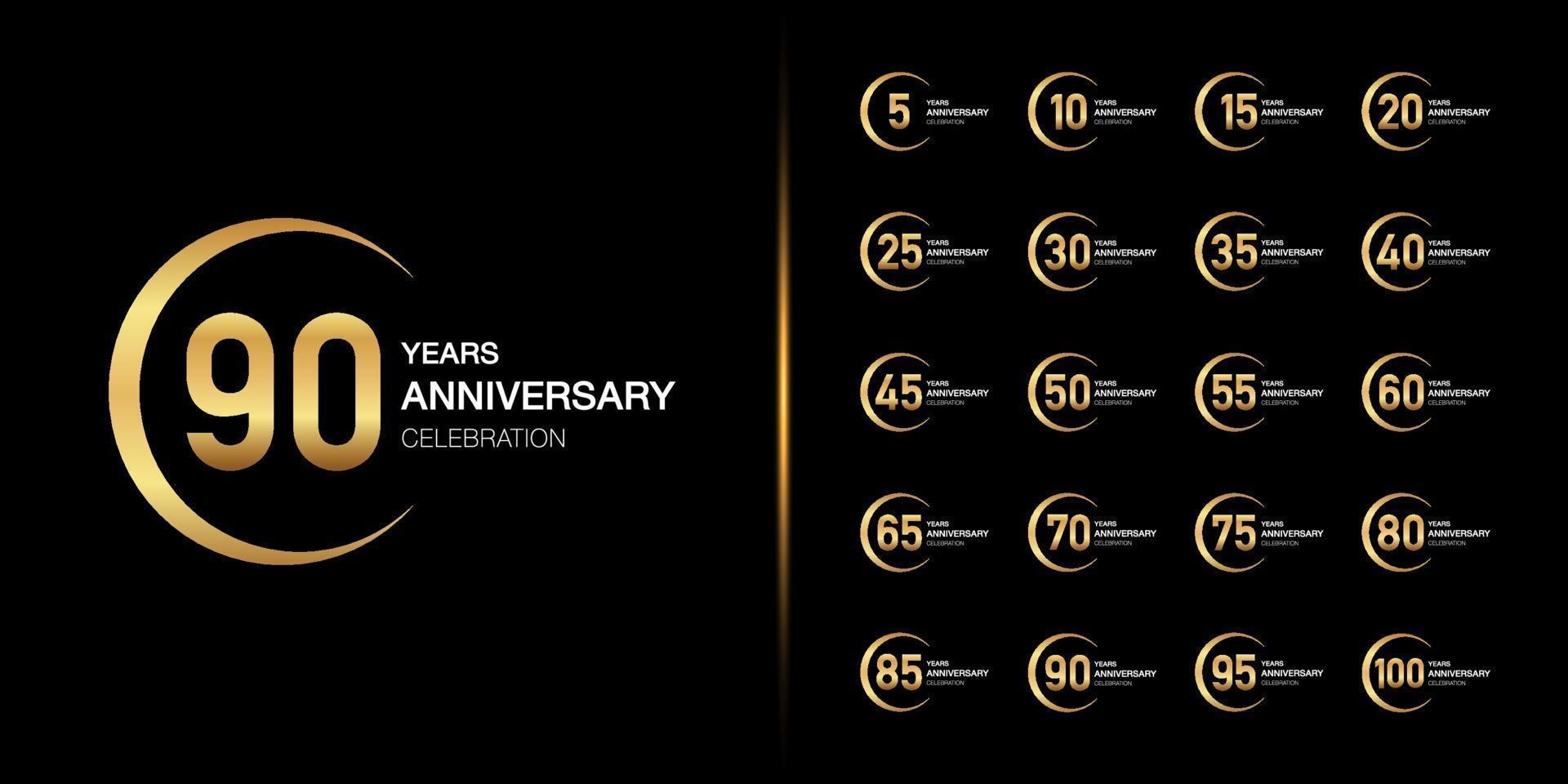 ensemble de conception emblème de célébration anniversaire doré vecteur