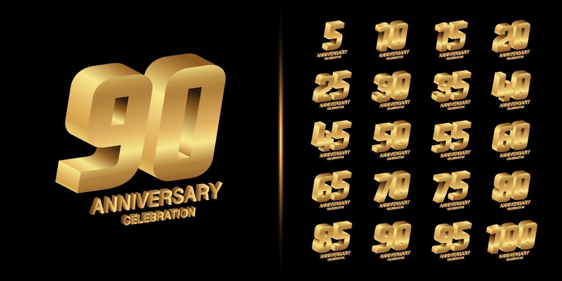 ensemble de logo anniversaire premium vecteur