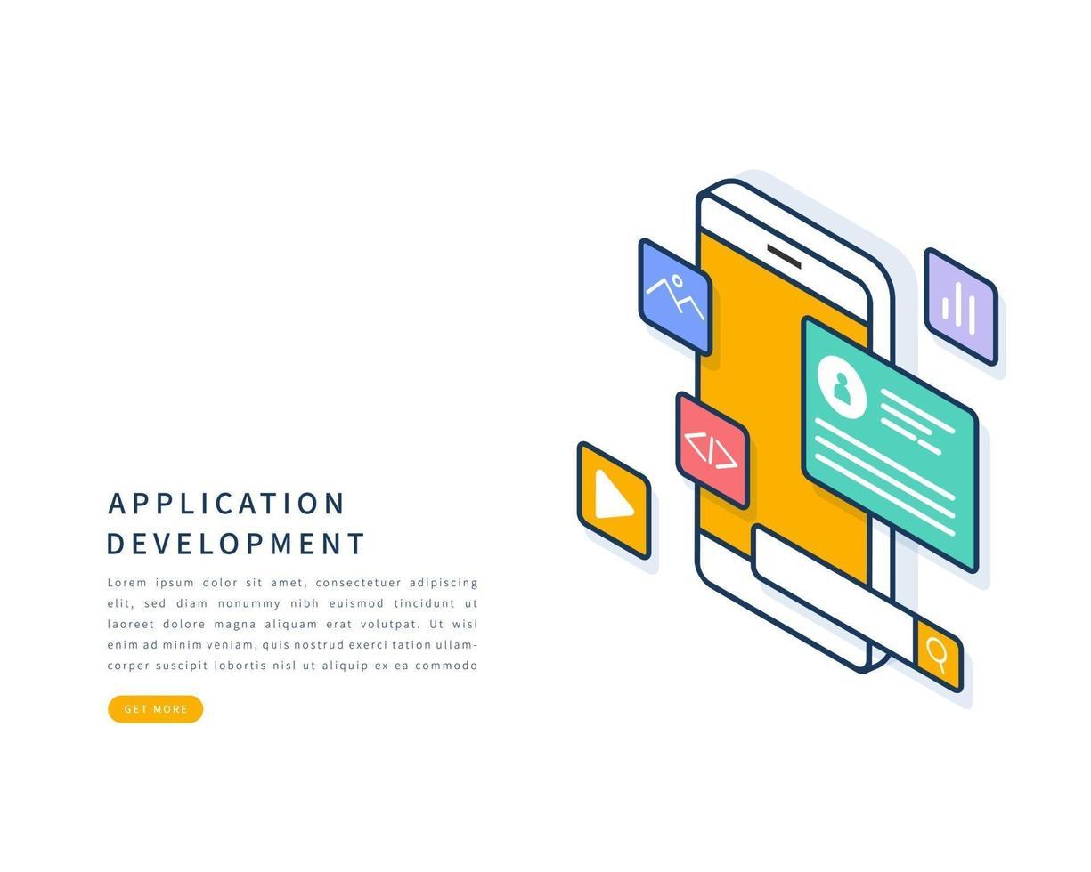 concept de développement d'applications mobiles. illustration vectorielle de ligne plate isométrique. vecteur