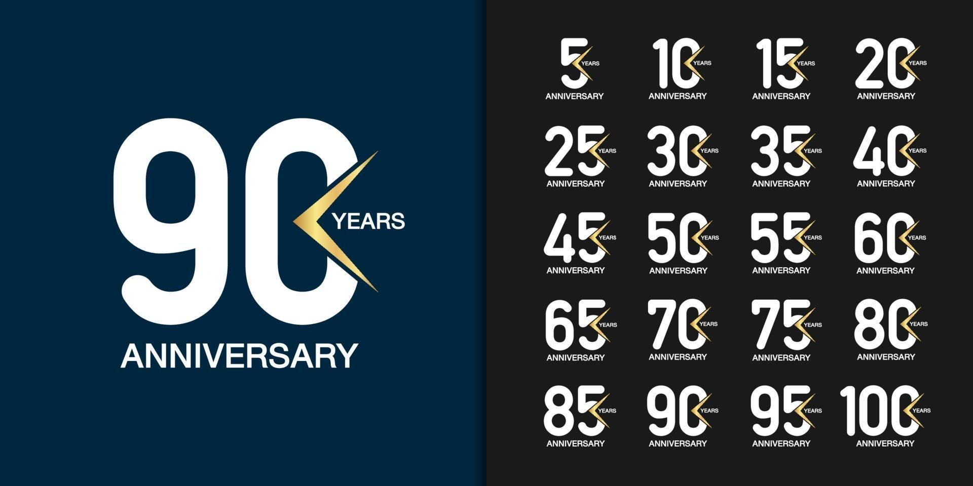 ensemble d'icônes de célébration anniversaire géométrique moderne vecteur