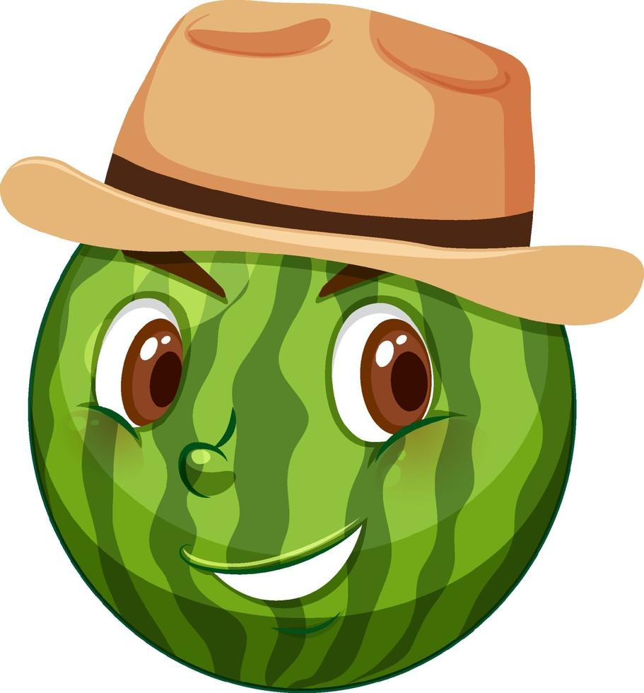 personnage de dessin animé de pastèque avec expression faciale vecteur