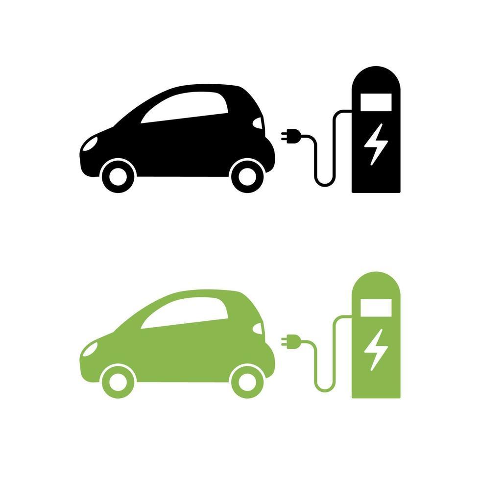 voiture électrique et icône de station de charge électrique. symbole de véhicule hybride. concept de véhicule électrique ou auto écologique. vecteur