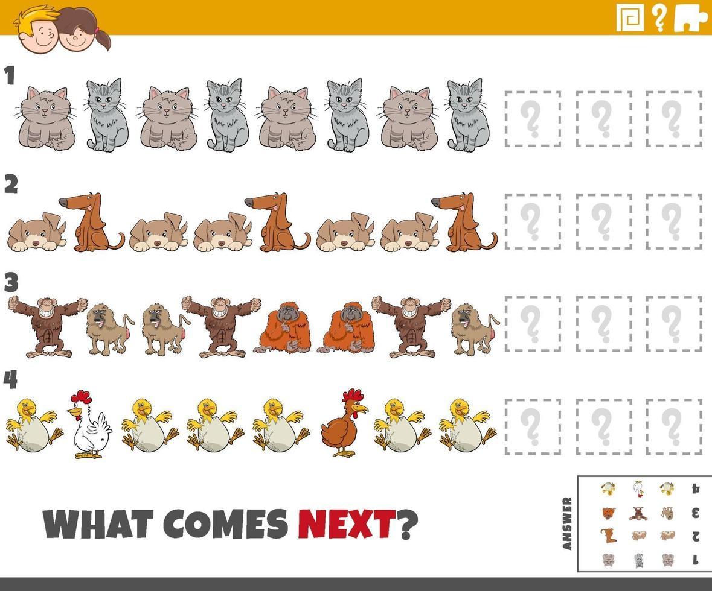 jeu de motifs éducatif pour enfants avec des animaux de dessin animé vecteur