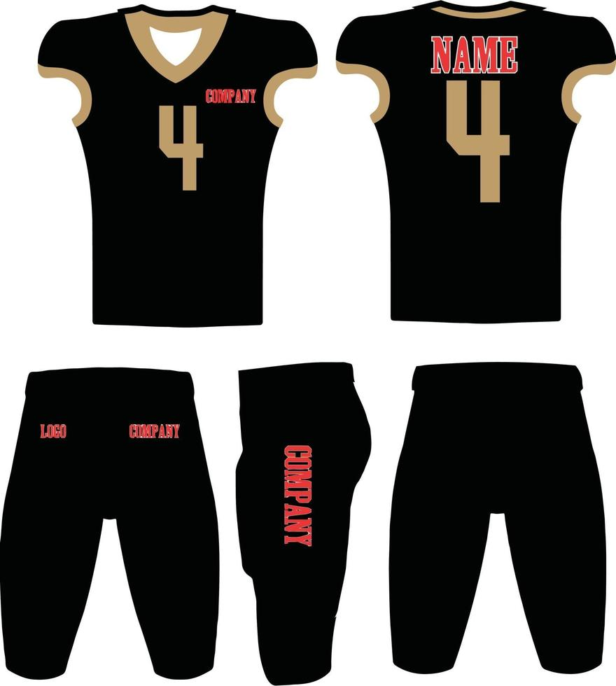 illustration d'uniformes de football américain de conception personnalisée vecteur