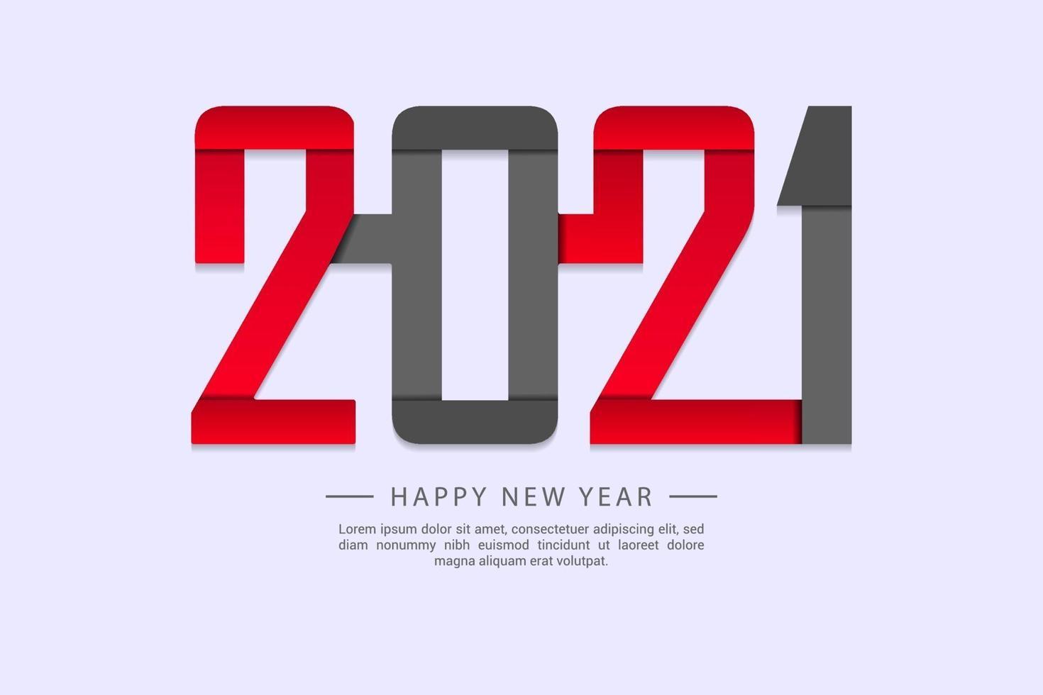 bonne année 2021 modèle de conception de texte pour cartes de voeux, affiche, bannière, illustration vectorielle. vecteur