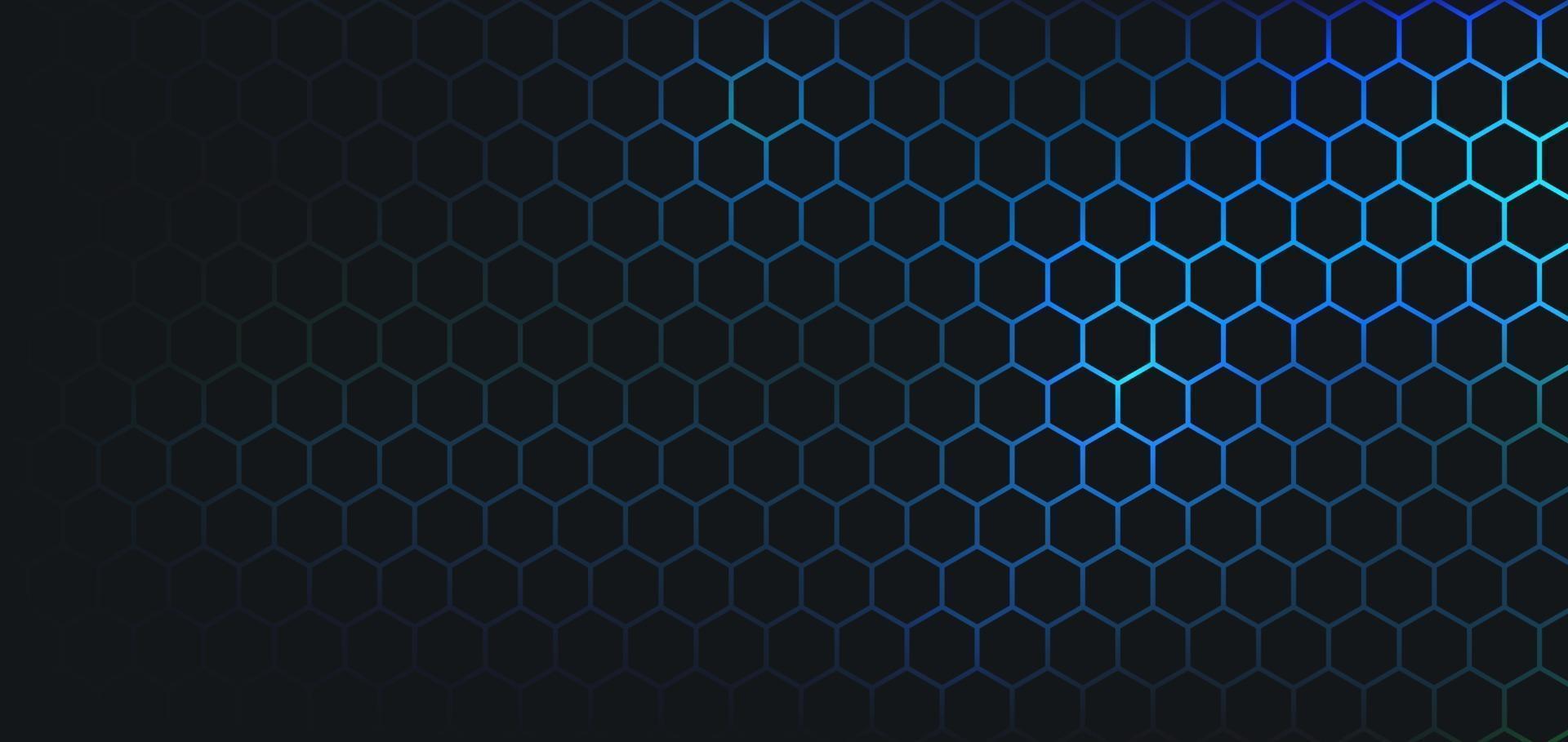 motif abstrait hexagone foncé sur le style de technologie de fond de couleur néon vert bleu. concept de nid d'abeille futuriste moderne. vous pouvez utiliser pour le modèle de couverture, l'affiche, la bannière Web, le dépliant. illustration vectorielle vecteur