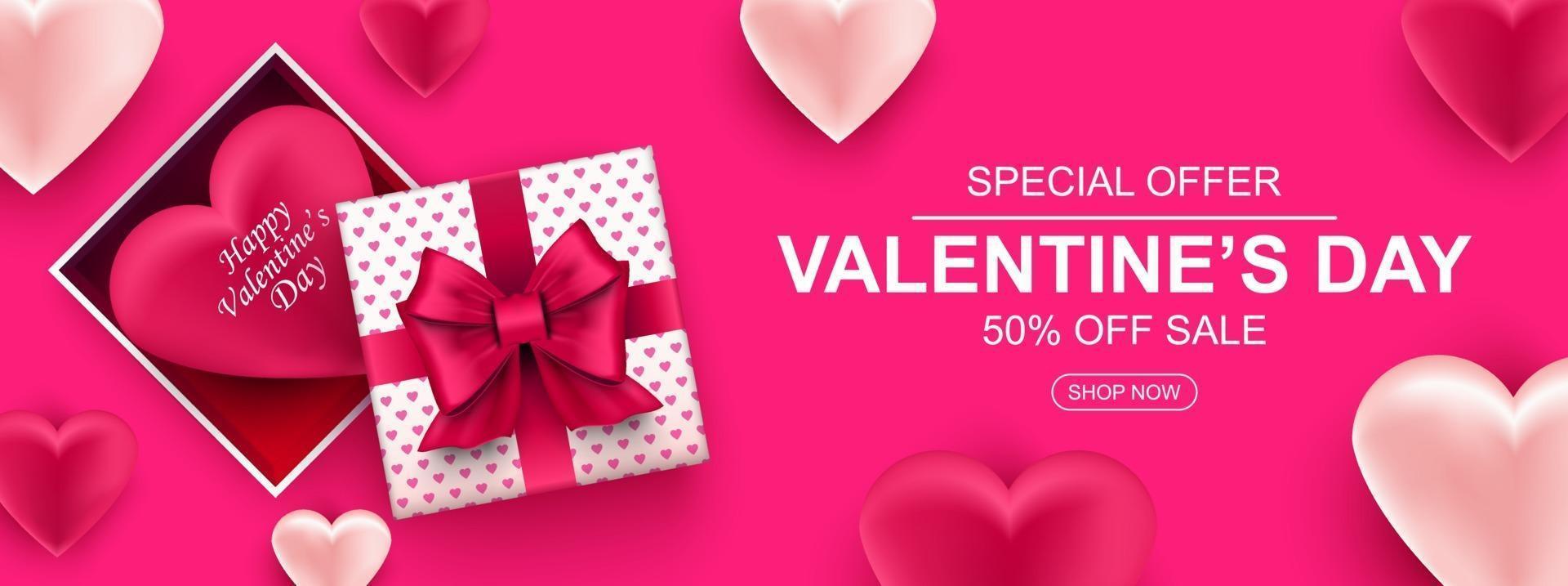 bannière web vente Saint Valentin. boîte-cadeau réaliste avec arc et coeur. vecteur