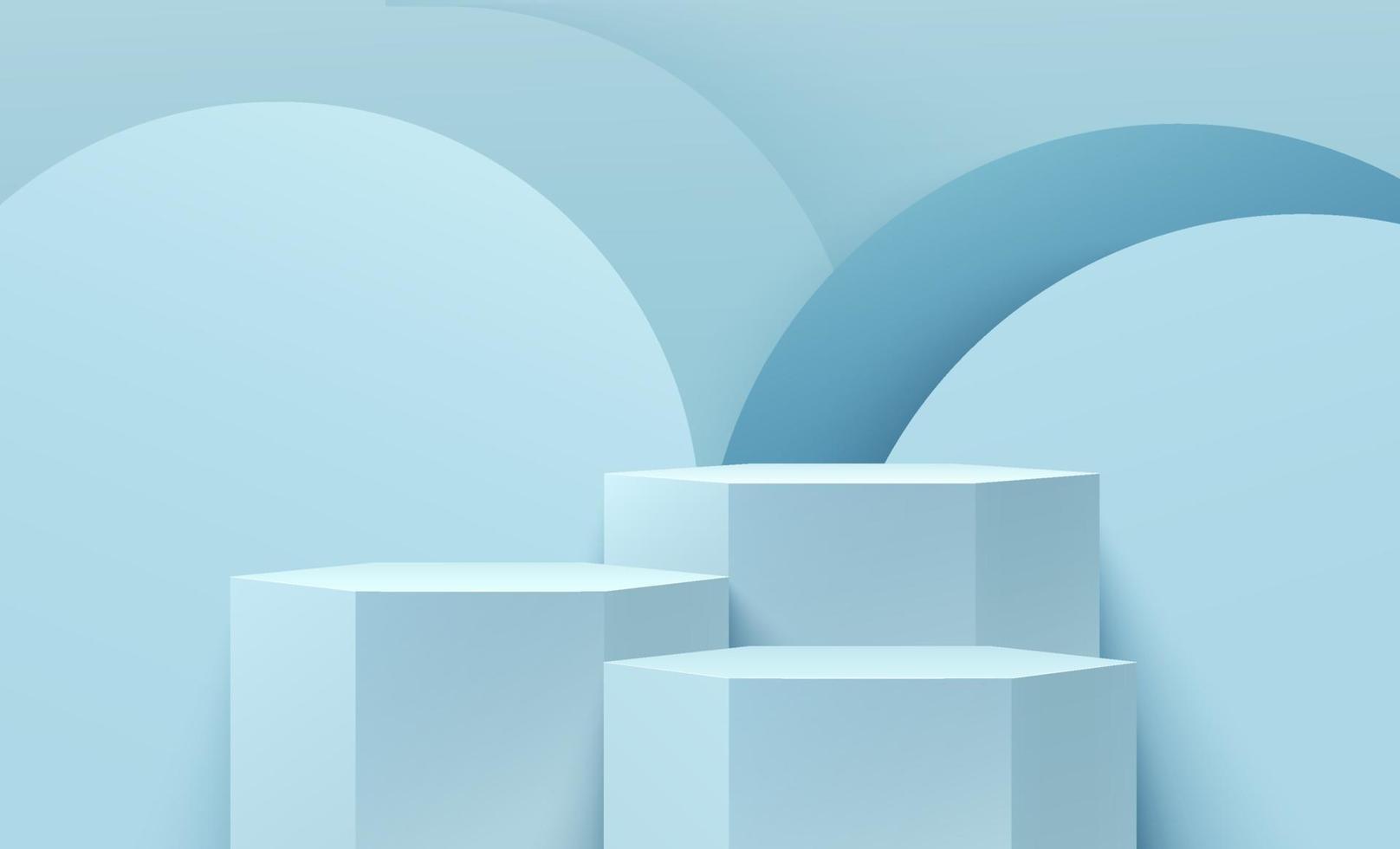 affichage hexagonal abstrait pour produit sur site Web dans un design moderne. rendu de fond avec podium et scène de mur de texture de cercle bleu clair minimal, conception de forme géométrique de rendu 3D. illustration vectorielle vecteur