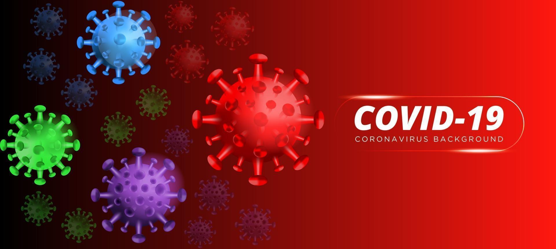 COVID-19 [feminine. épidémie de coronavirus, épidémie de maladie virale, rendu 3d du virus, illustration de l'organisme. fond avec des cellules de virus 3d réalistes. Illustration 3d vecteur