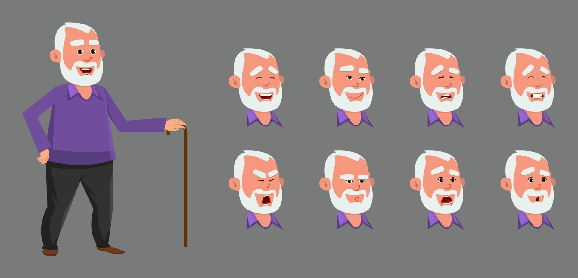 personnage de vieil homme avec différentes émotions et expressions. vecteur