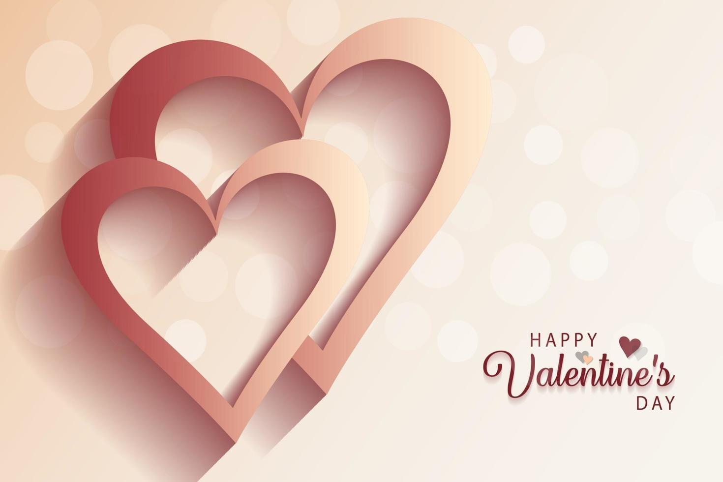 fond de jour de valentine heureux réaliste avec amour et sentiments de coeurs. vecteur