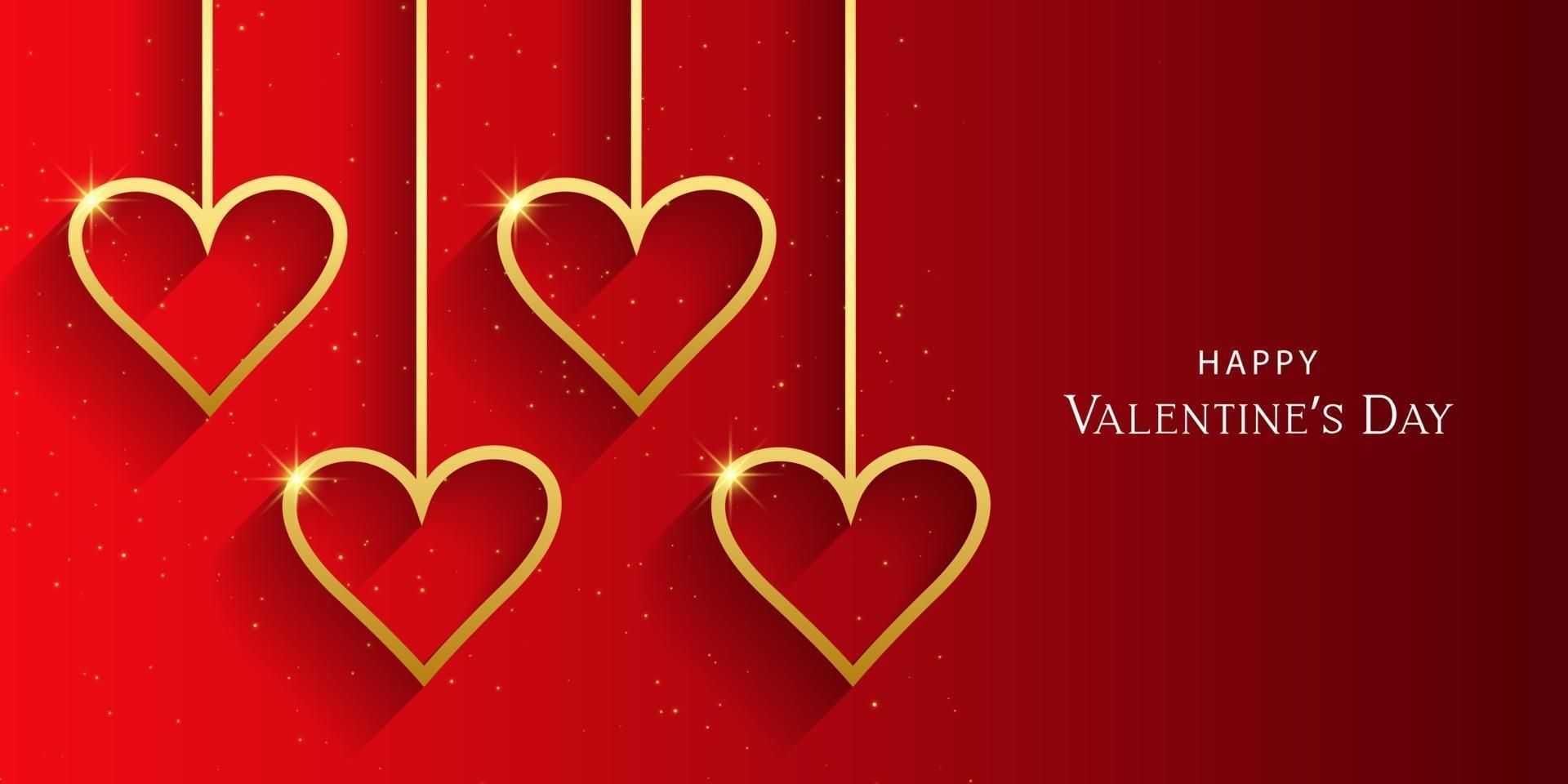 beau coeur Saint Valentin en illustration de fond rouge. vecteur