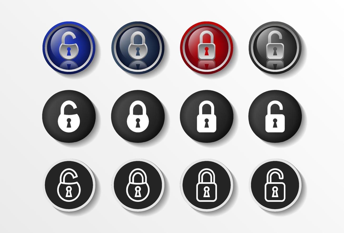 icônes de verrouillage définissent réaliste fermé et ouvert, illustration vectorielle de sécurité design plat en 4 options de couleurs pour la conception web et les applications mobiles. illustration vectorielle. vecteur