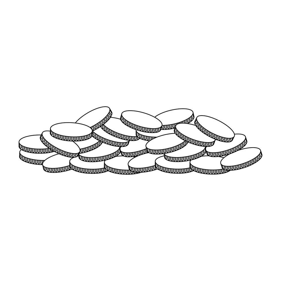 caricature d'icône de pièces d'or isolé en noir et blanc vecteur