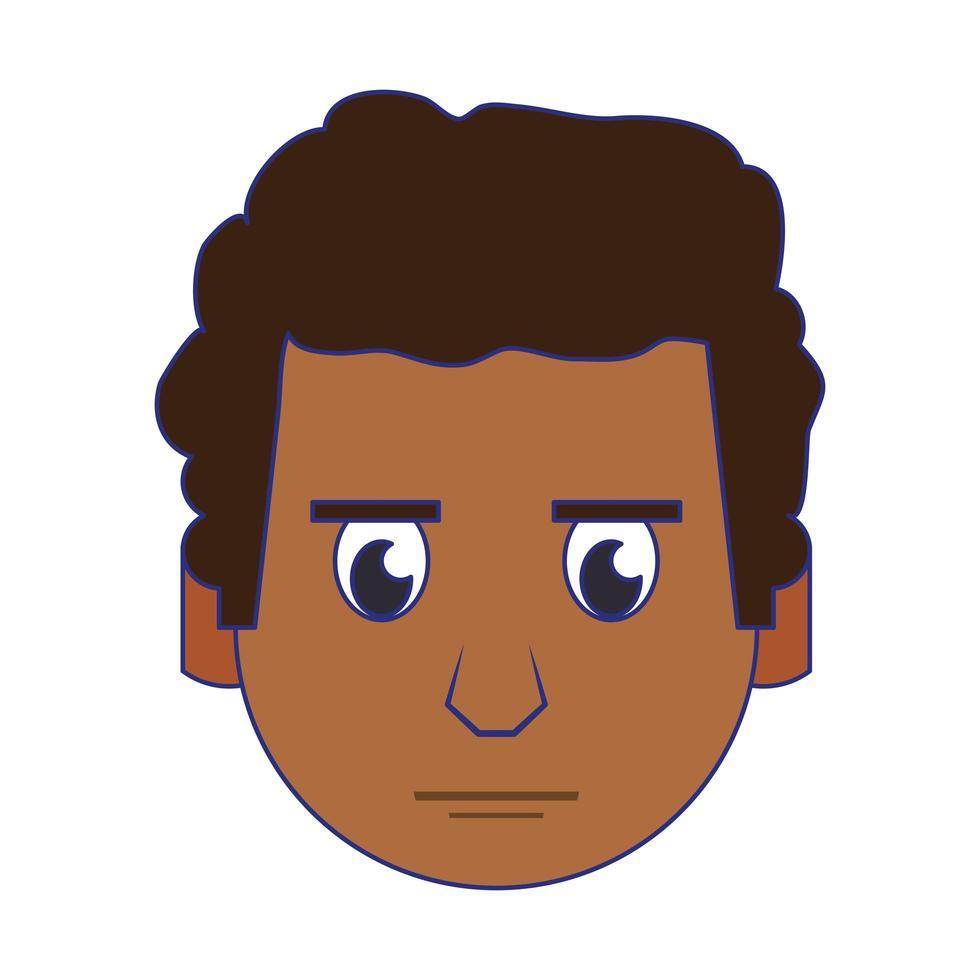 homme visage tête personnage dessin animé lignes bleues vecteur