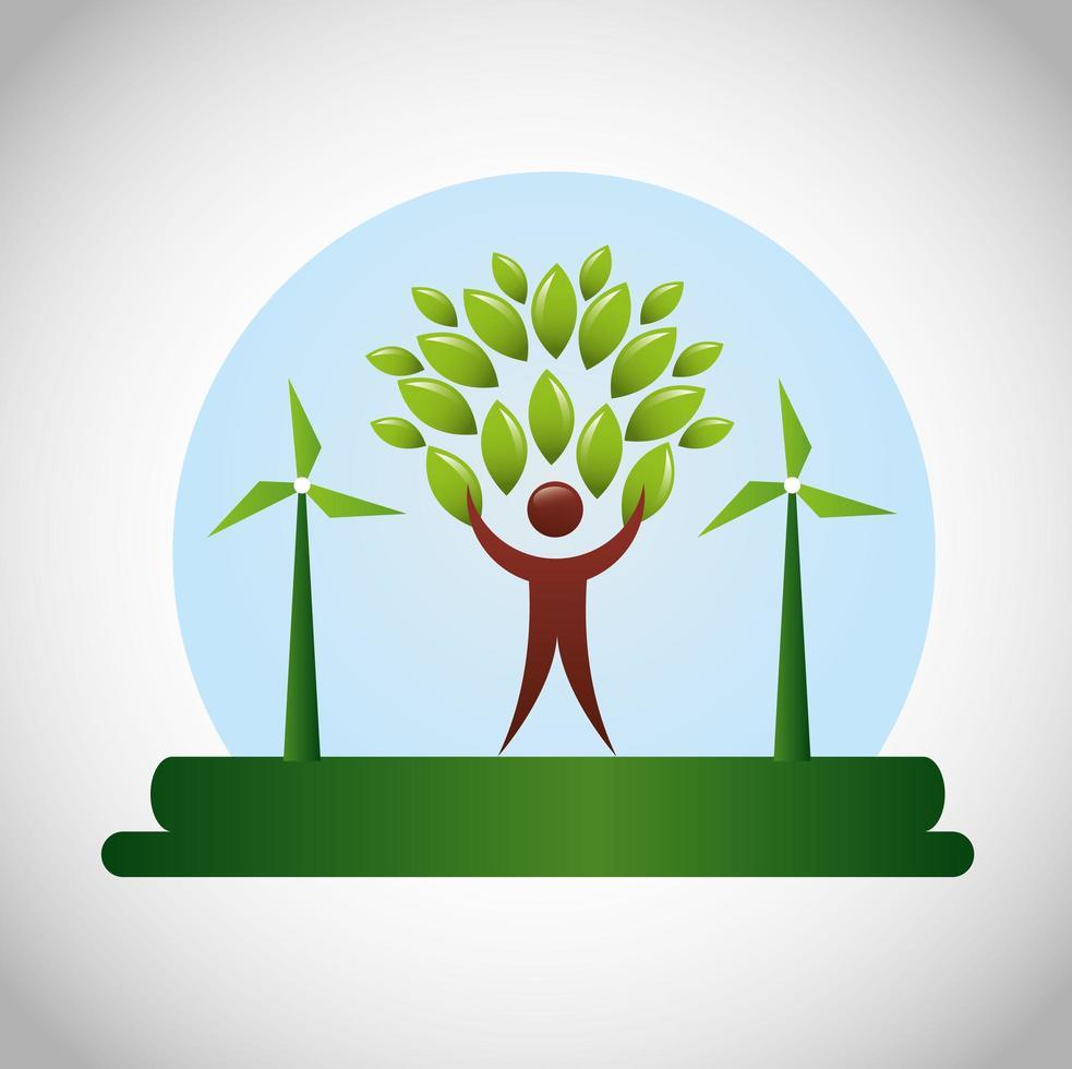 affiche écologique avec figure humaine et feuilles vecteur
