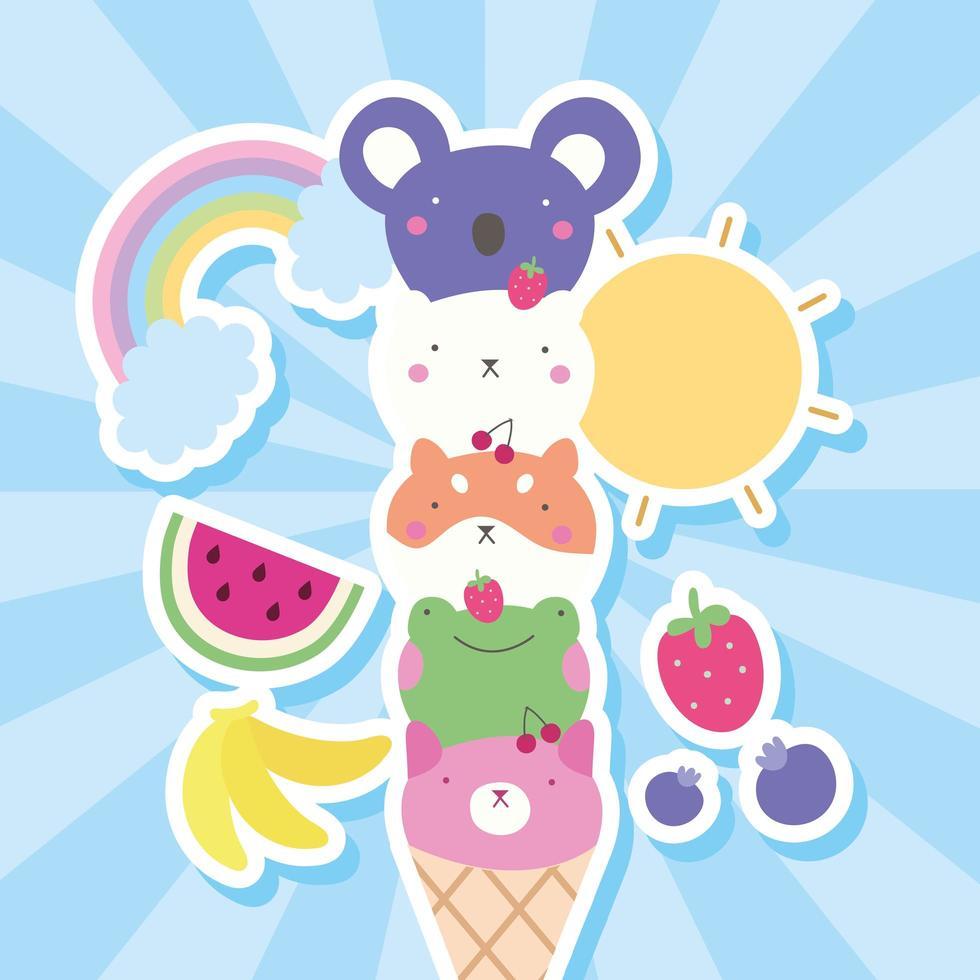 mignons petits animaux dans des cornets de crème glacée, personnages kawaii vecteur