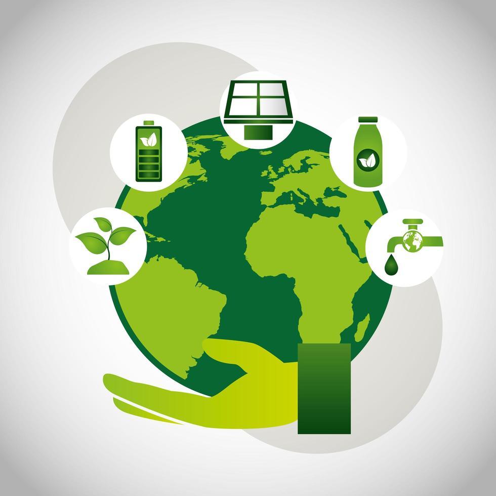 affiche écologique avec la planète terre et les icônes vecteur