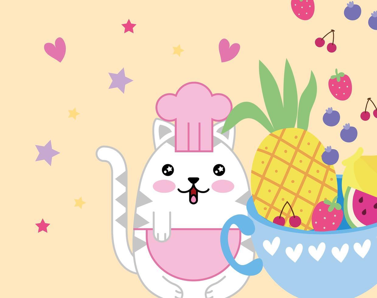 Kawaii mignon petit chat avec bol de fruits vecteur
