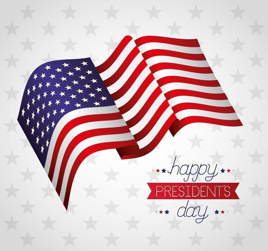affiche de fête des présidents heureux avec drapeau vecteur