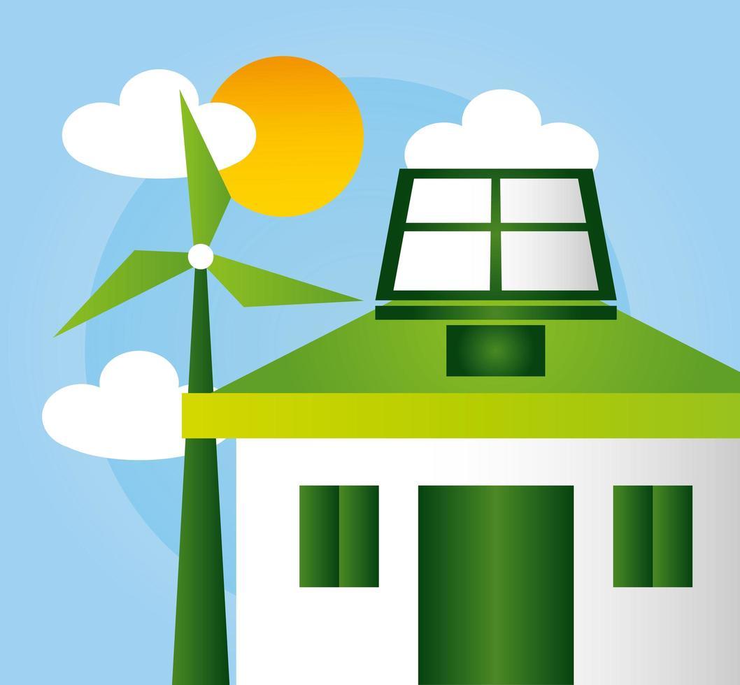 affiche écologique avec maison et énergie éolienne vecteur