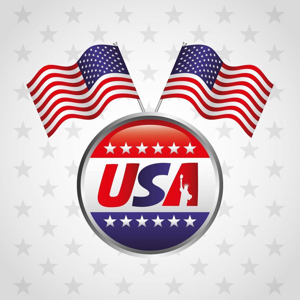 affiche de fête des présidents heureux avec timbre de sceau de drapeau vecteur