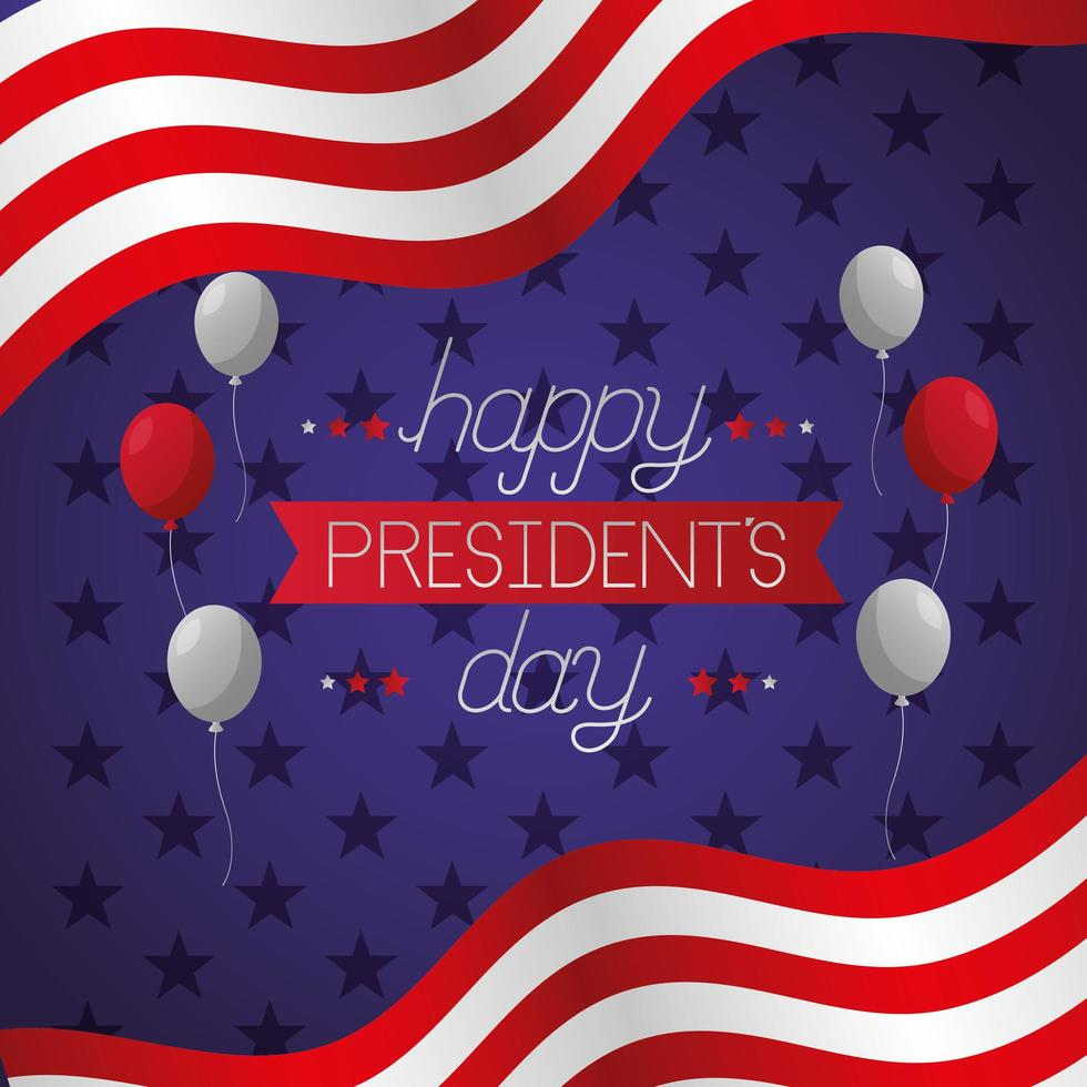 affiche de la fête des présidents avec drapeau et ballons vecteur