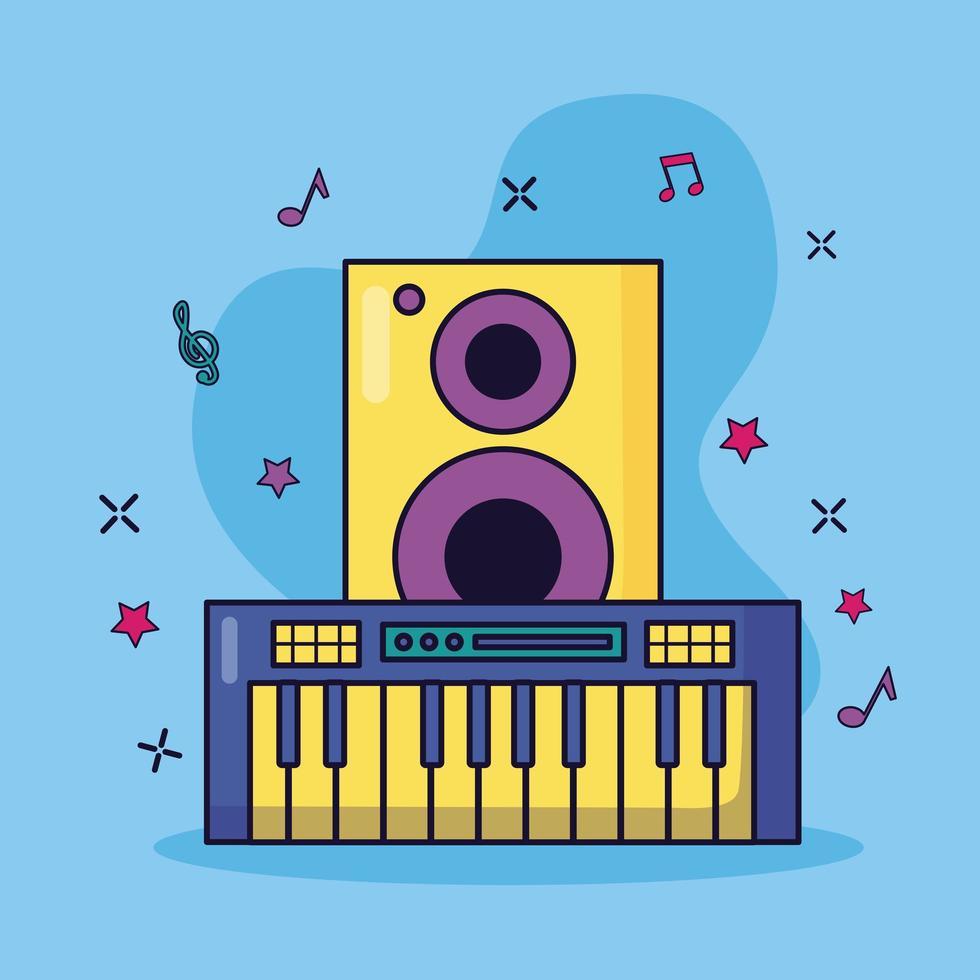 synthétiseur et haut-parleur fond coloré de musique vecteur