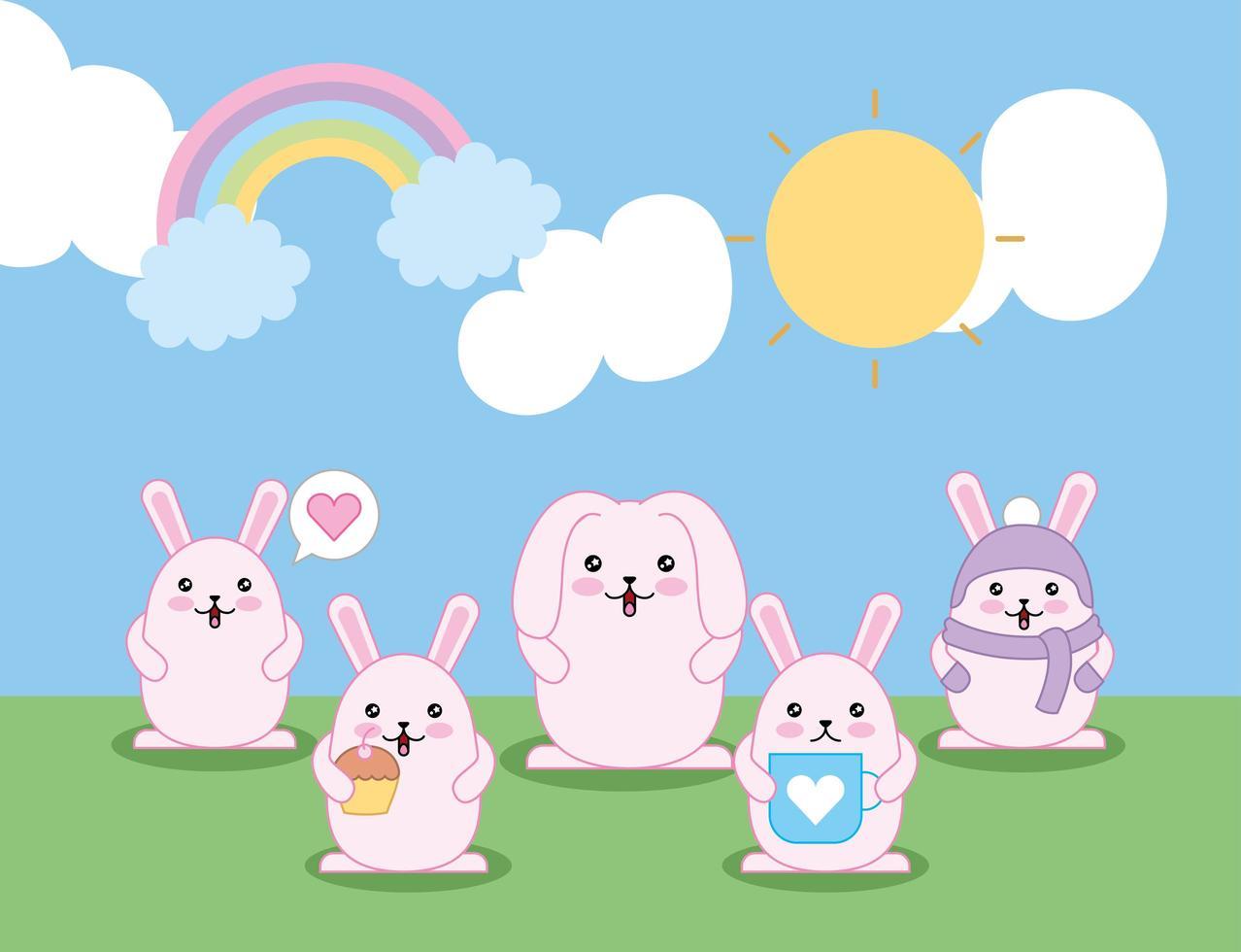 mignons petits lapins à l'extérieur, personnages kawaii vecteur