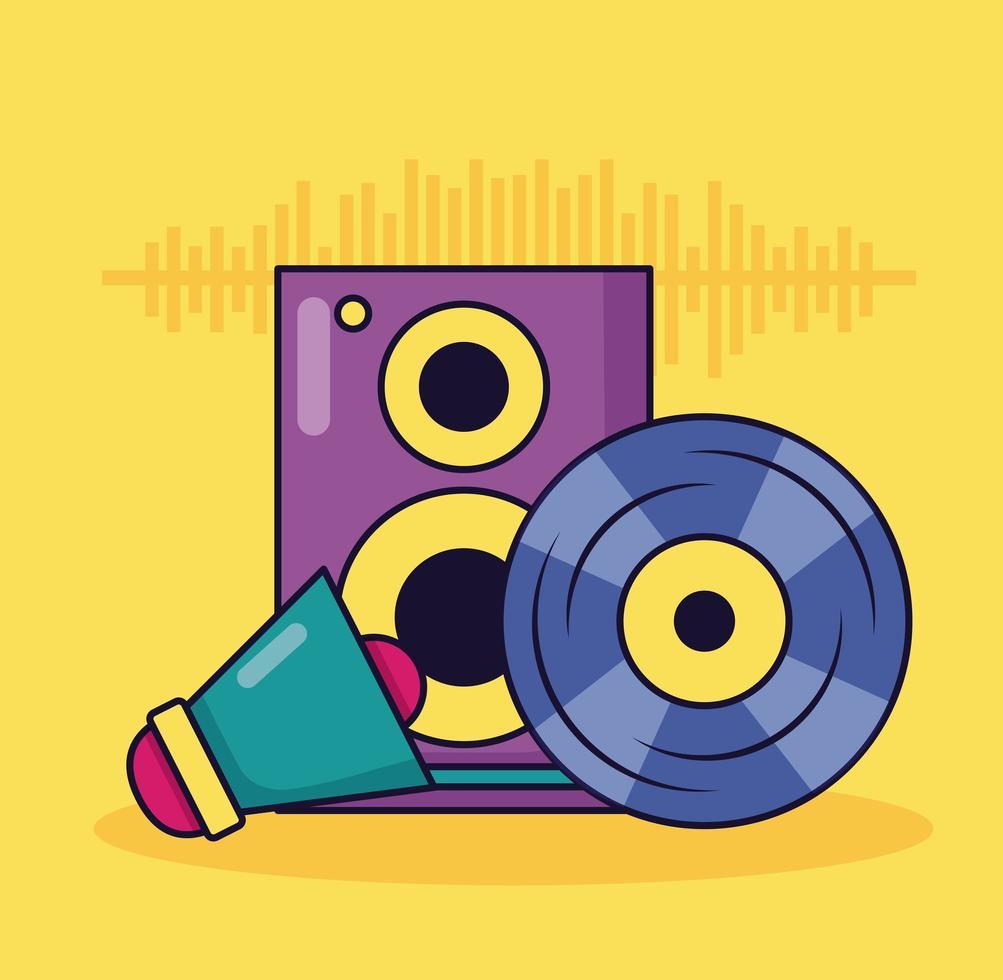 vinyle haut-parleur mégaphone musique fond coloré vecteur