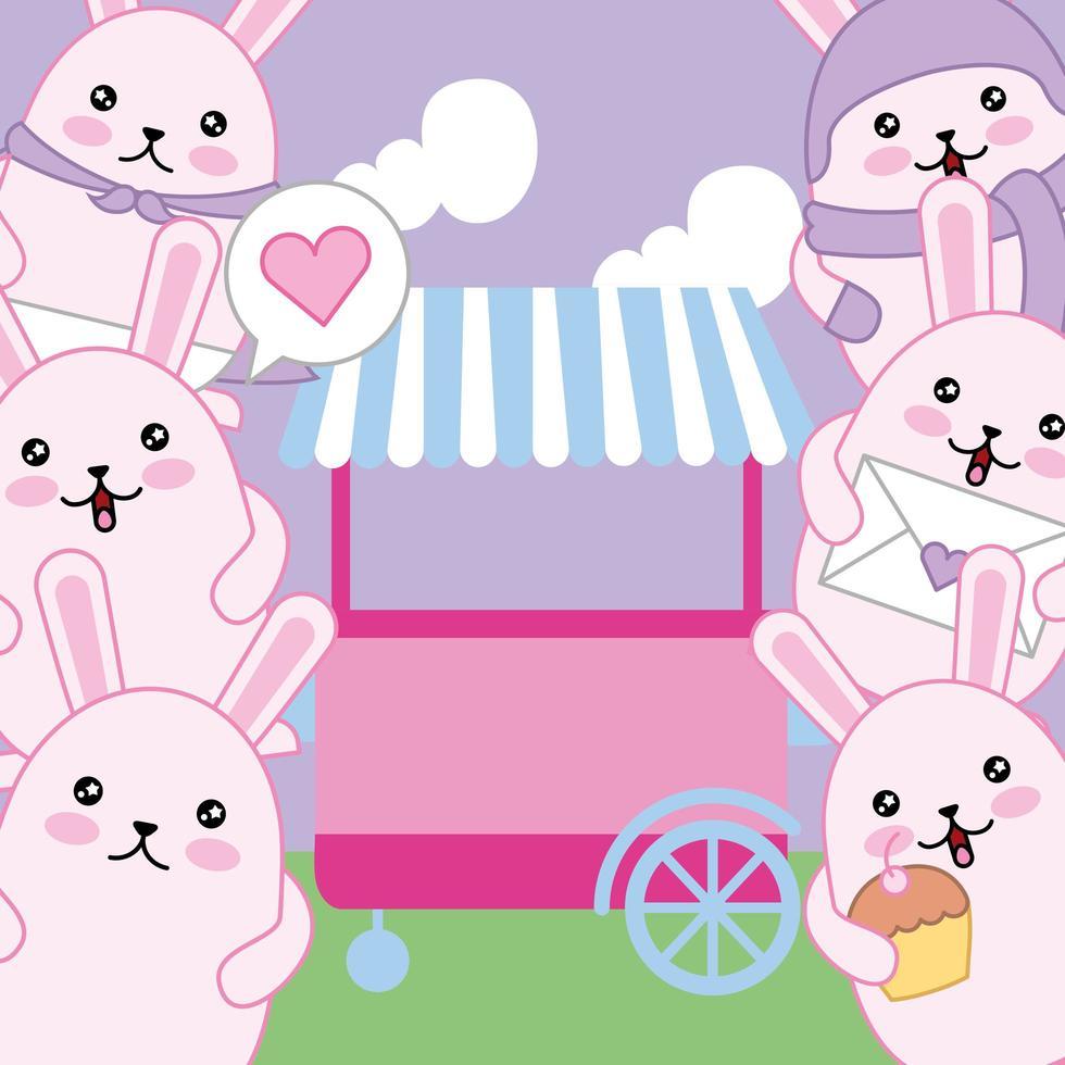 mignons petits lapins avec chariot, personnages kawaii vecteur