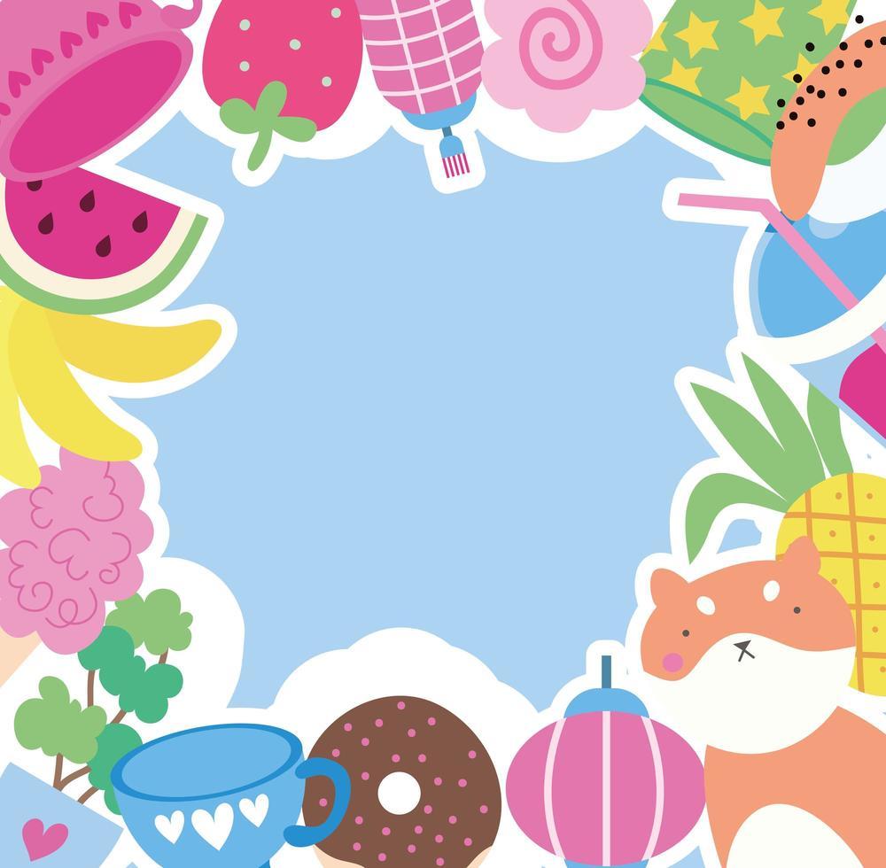 mignon petit renard avec des fruits et des beignets, personnage kawaii vecteur