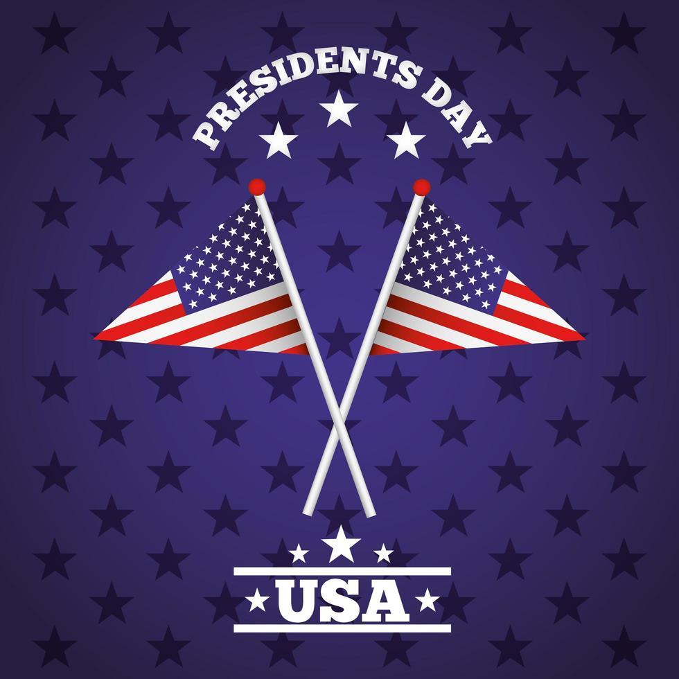 affiche de célébration de la journée des présidents heureux avec des drapeaux usa vecteur