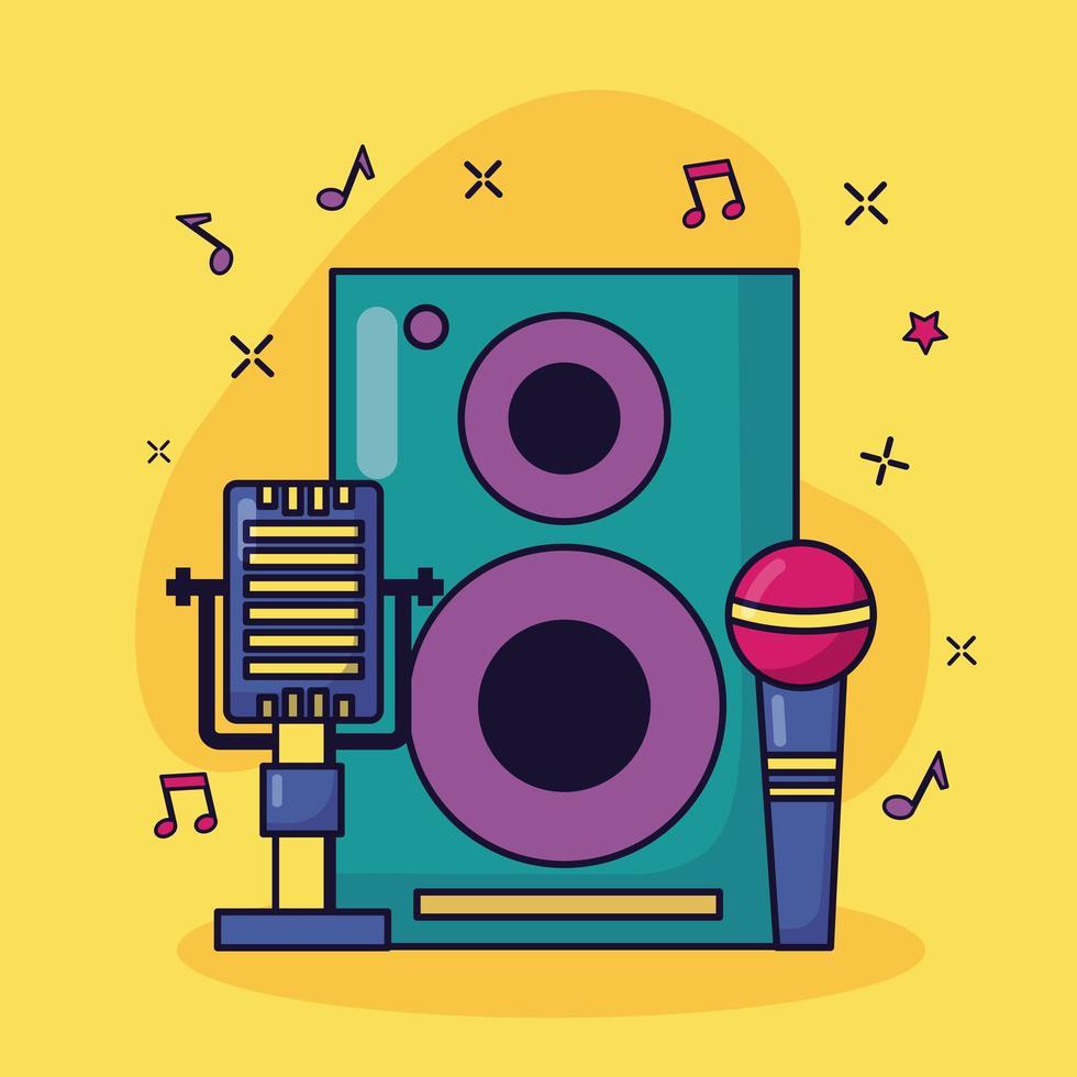 microphones haut-parleur musique fond coloré vecteur