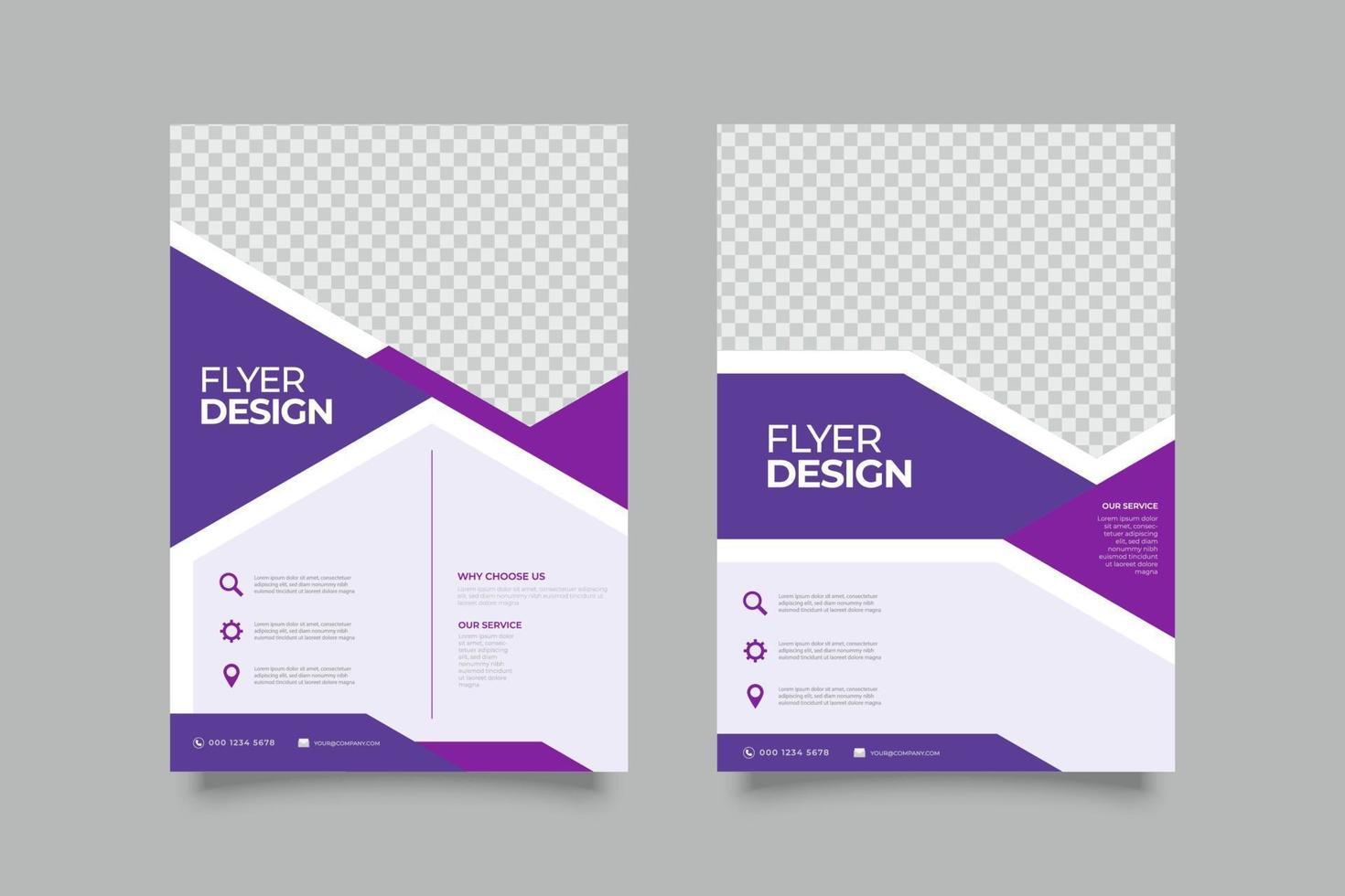 conception de modèle de flyer dégradé violet avec des formes abstraites vecteur