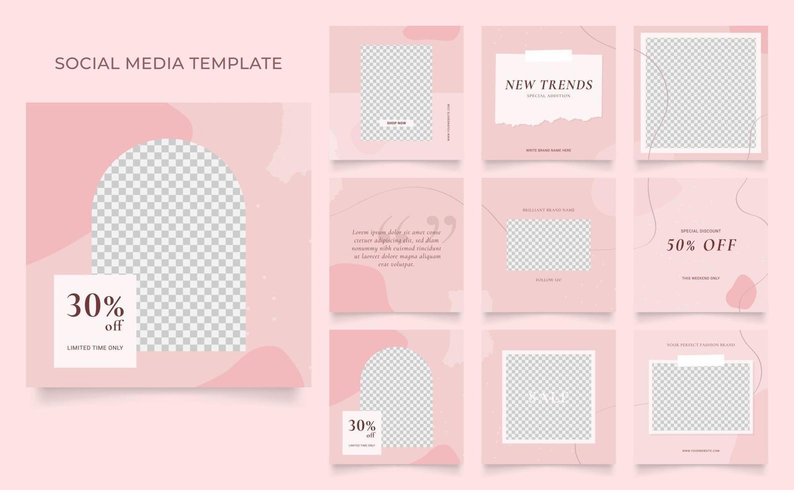 promotion de vente de mode de blog de bannière de modèle de médias sociaux. affiche de vente organique entièrement modifiable de puzzle de cadre de poteau carré. fond de vecteur blanc rose rouge