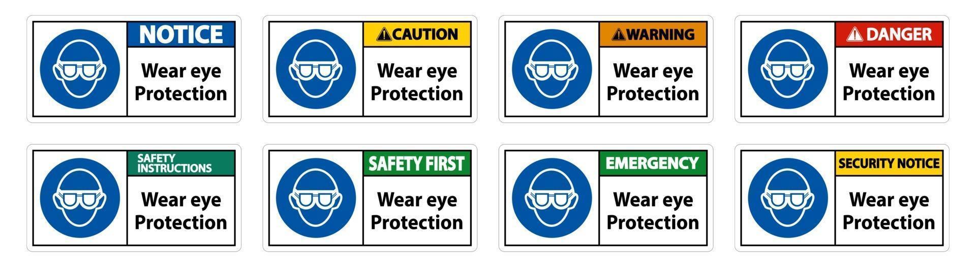 porter des lunettes de protection sur fond blanc vecteur