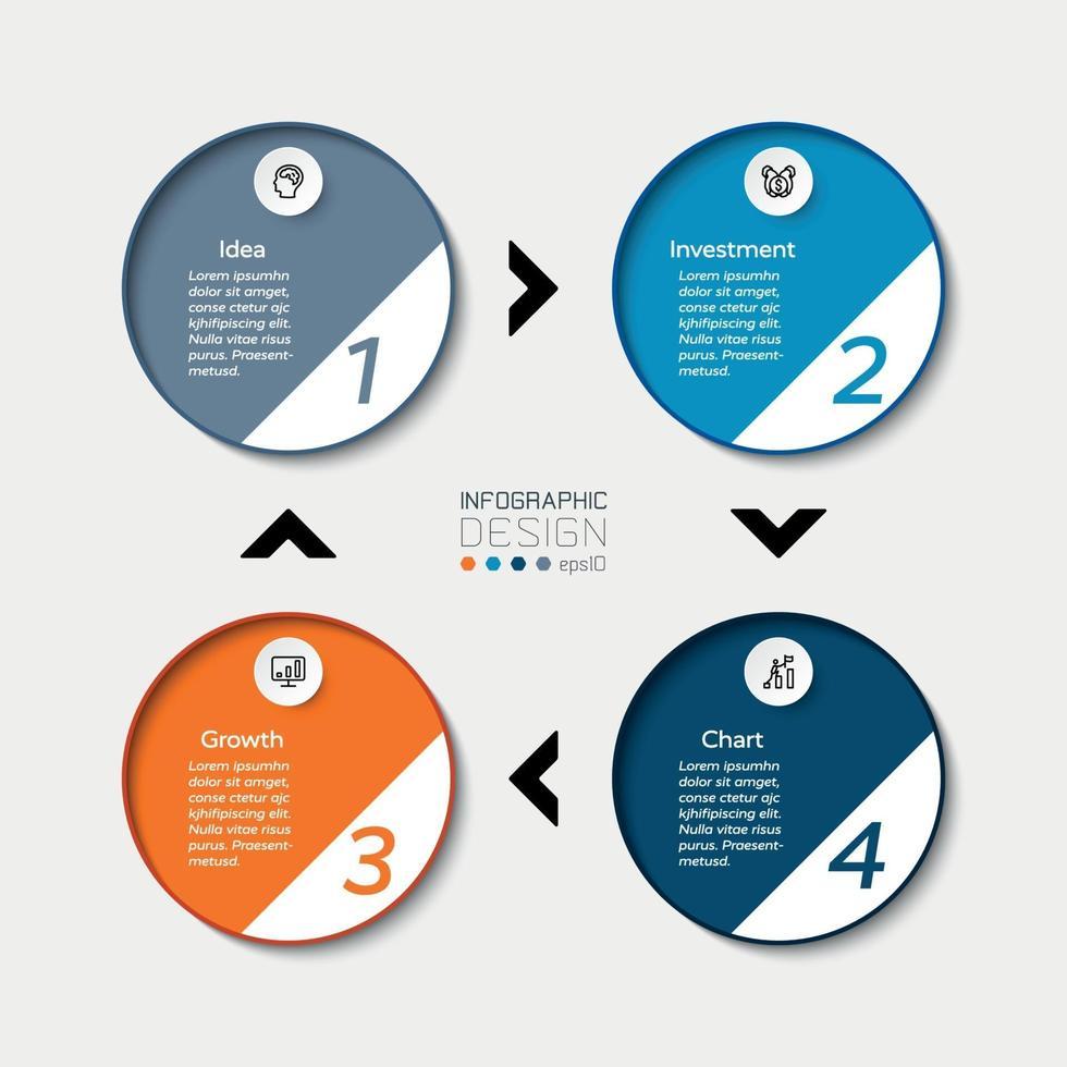 le cycle de données circulaire représente les processus de travail et la planification opérationnelle. conception infographique de vecteur. vecteur