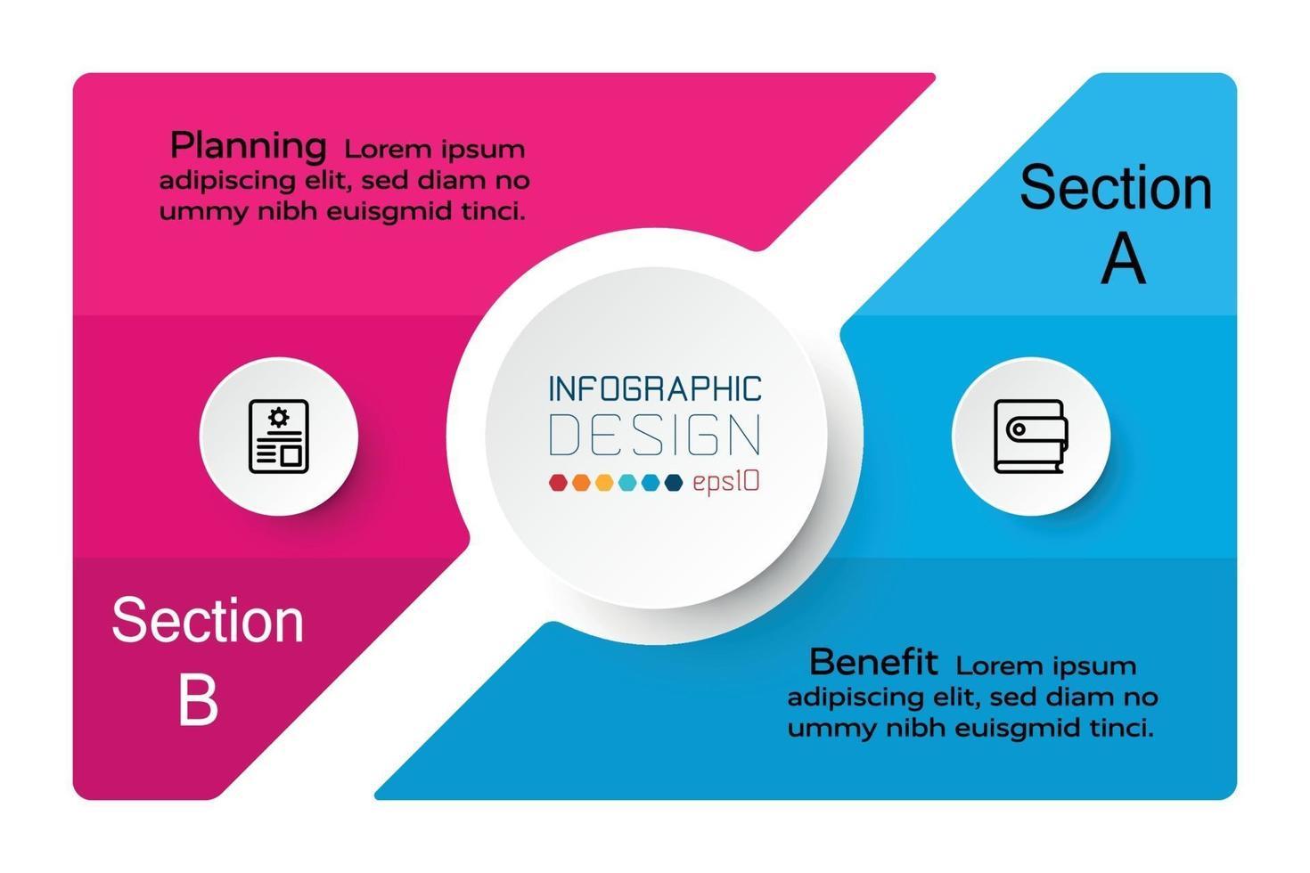 conception carrée par segmentation montrant le travail de groupe, applicable au travail d'équipe, aux affaires, au marketing. illustration vectorielle infographique. vecteur