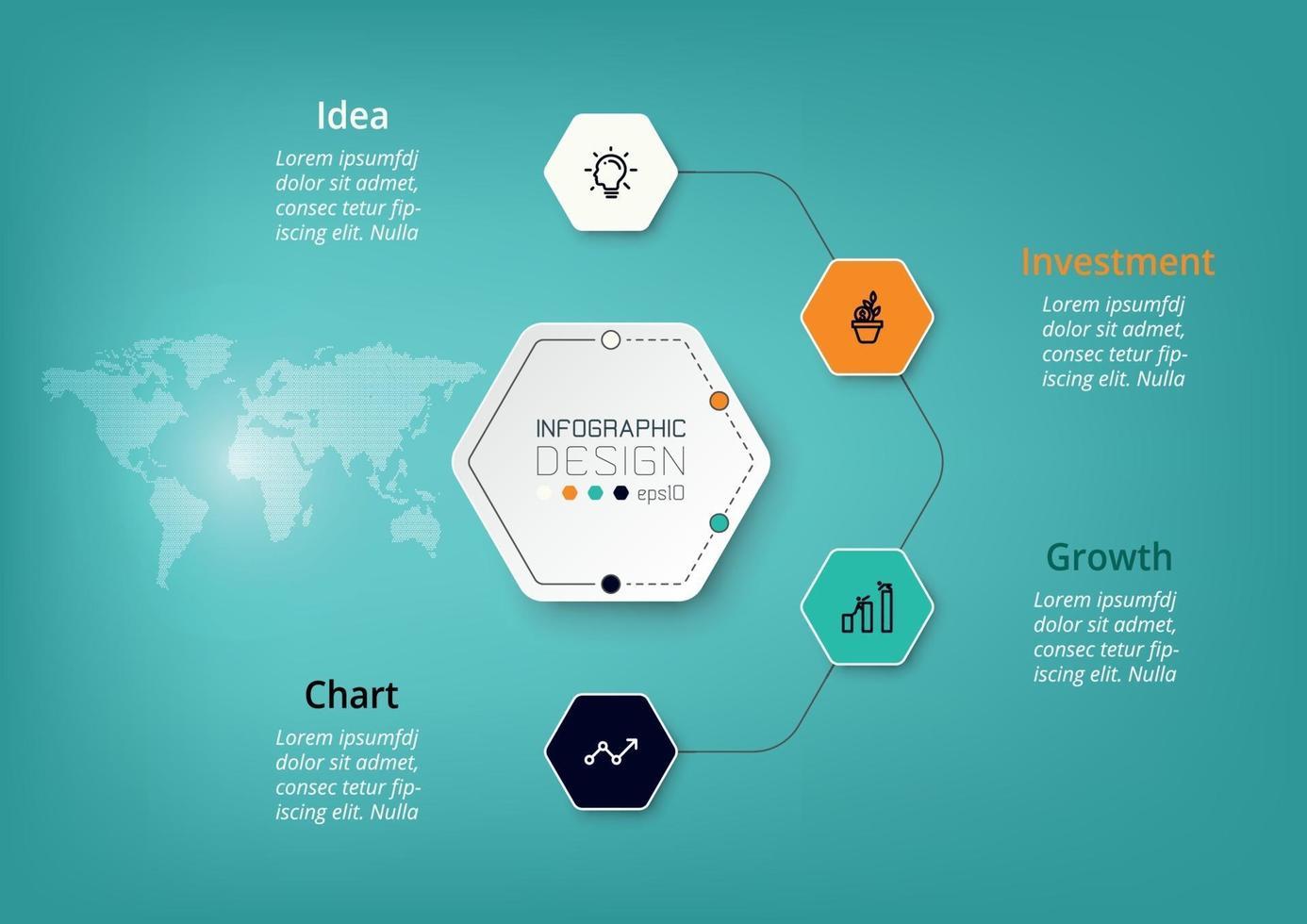 Les diagrammes hexagonaux vous aident à planifier votre travail et à décrire vos fonctions, opérations, affaires, entreprise, recherche, communication. infographie vectorielle. vecteur