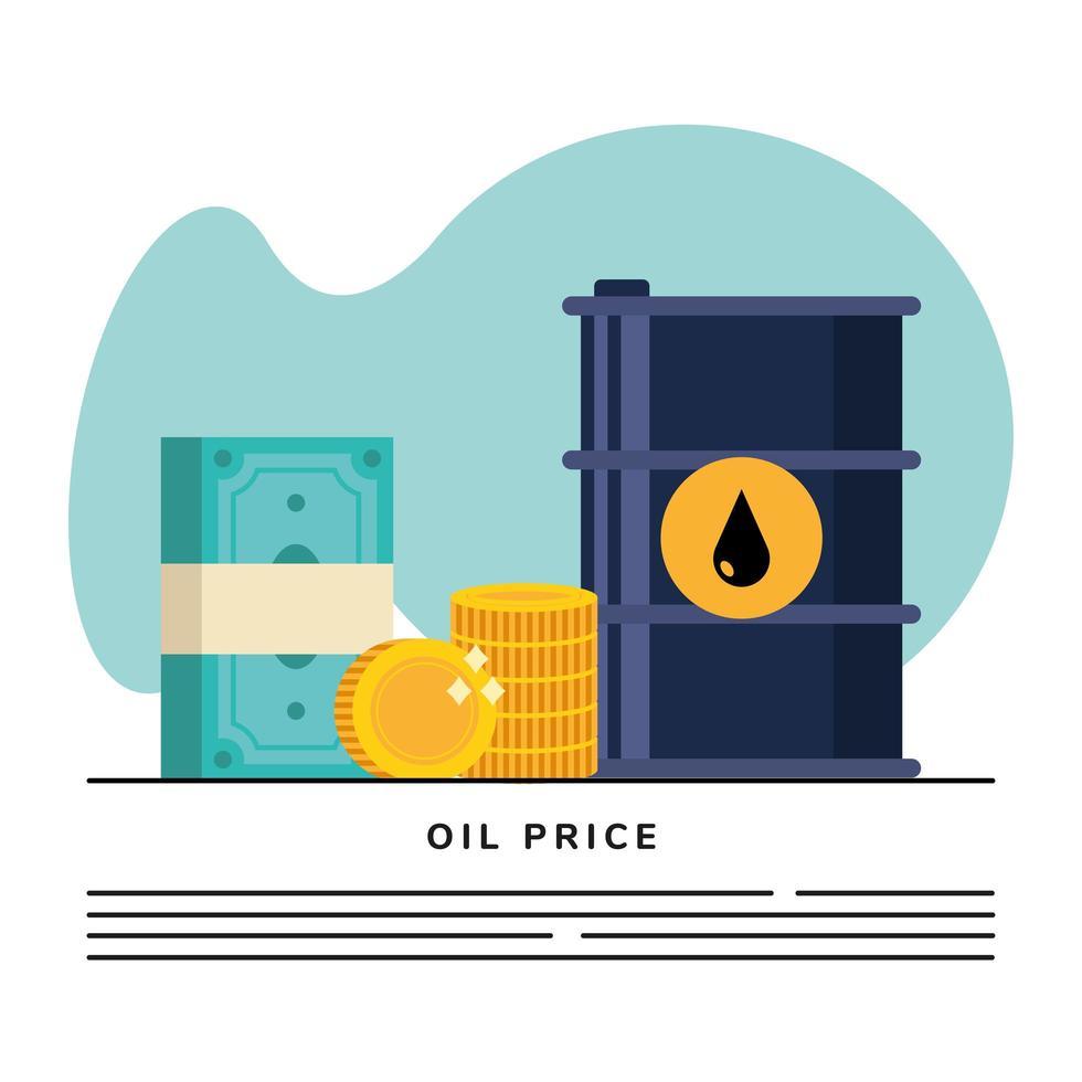 baril de pétrole avec modèle de bannière icônes argent dollars vecteur